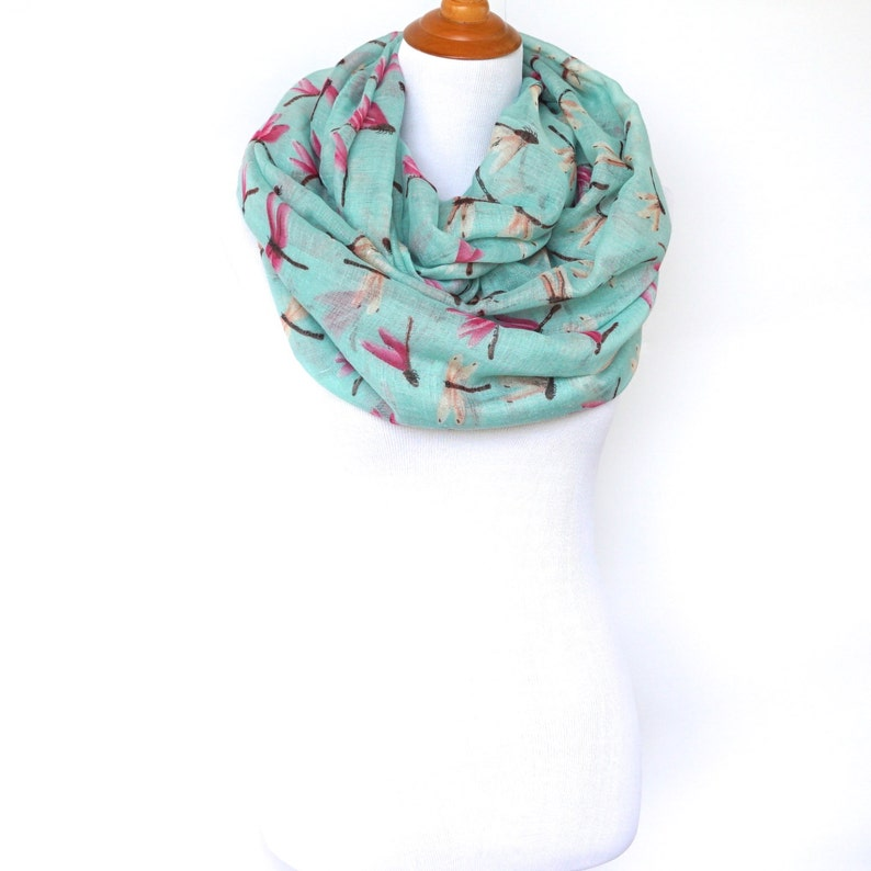 Turquoise Color Women's Dragonfly Infinity Scarf Dames