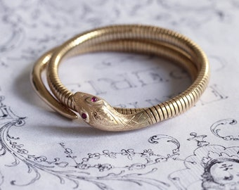 638bcad931c Vintage 9ct Gold Snake Bangle with Ruby Eyes, Serpent Bracelet Hallmarked  Chester 1961 and made by Smith & Pepper