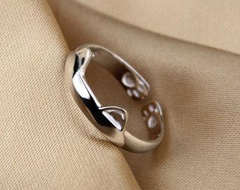 1PC 925 Sterling Silver Adjustable Split Cat Ears Ring 2.4grams