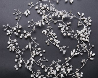 0.5/1.0 meter Crystal and Faux Pearl Hair Vine Long Bridal Headpiece Brass Wire Wrapped Silver or Gold