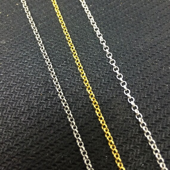 50 Yards Soldered Rolo Chain Welded Link Anti Tarnish 1.8mm2.5mm Silver Gold Rose Rhodium