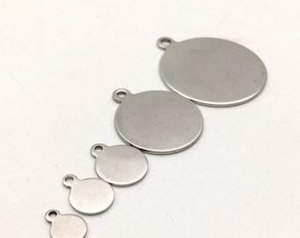 100pcs Stainless Steel Round Sleek Blanks Bead Disc Stamping Coin Tags with loop 6-30mm