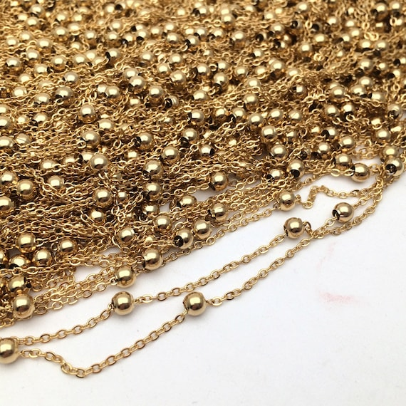 50 Yards Satellite Beaded Cable Chain Soldered Welded Link Brass Findings 2 Size