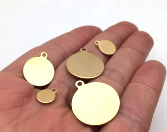 100pcs Real Gold plated Stainless Steel Round Sleek Blanks Bead Disc Stamping Coin Tags with loop 8-20mm