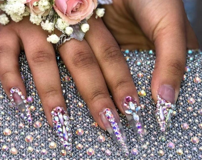 Featured listing image: Queen of Bling Prom Princess Stiletto XL Rhinestone Bling Cardi B Inspired Hand Designed Press On Nails