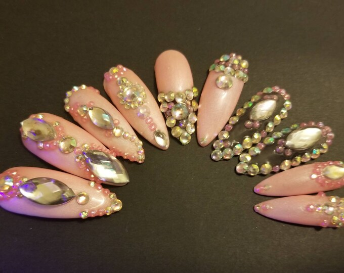 Featured listing image: 3 NAIL SHAPES - Cardi B Inspired Pink Rhinestone Bling Glow In Dark UV Gel Hand Painted Nail Set + Adhesive Kit