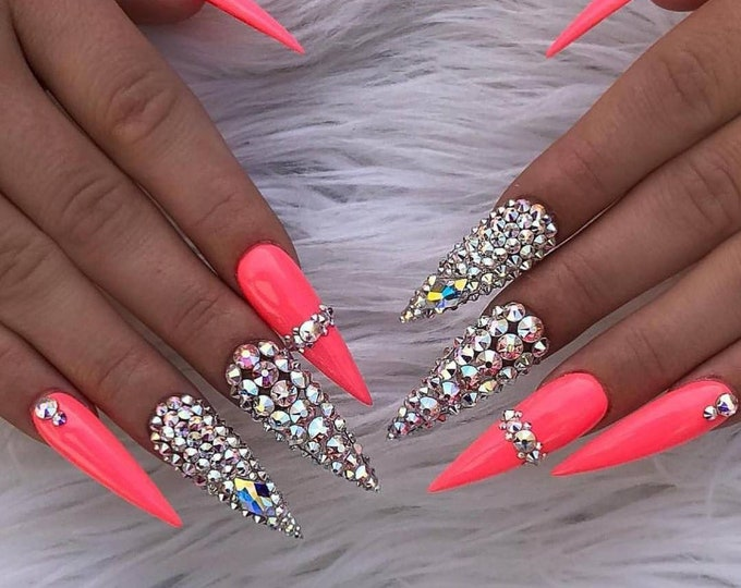 Featured listing image: 13 NAIL SHAPES - Rhinestone Bling Solid Hand Designed Nail Set