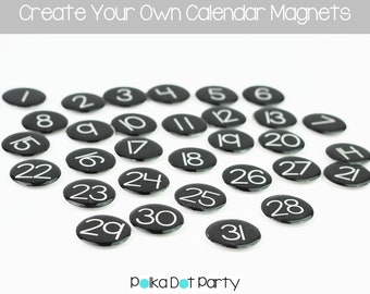 DIY Black Calendar Magnet Numbers Printable | Create Your Own Date Magnets | Instant Download | Monthly Magnetic Calendar Numbers You Print