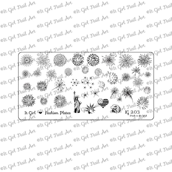 IG203 Nail Art Stamping Plate fireworks eagle 4th of July
