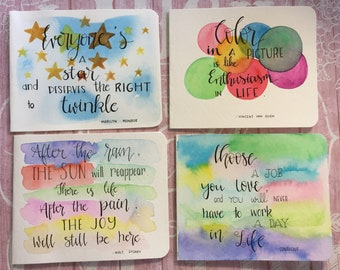 Set of 4 Inspirational Quote Cards/ Hand-lettered quotes/ Original artworks/ NOT prints