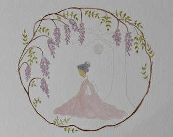 Original Watercolor Illustration   Wisteria Maiden