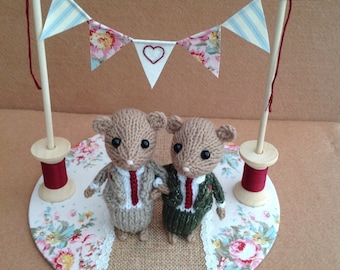 To order - Groom and groom dormice. Civil ceremony, Any of my toppers can be made with a groom & groom. Please ask for more details.