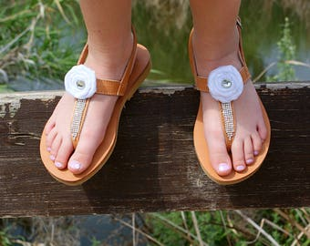 Greek Girl Sandals Kids Flat Sandals Flower Girls Sandals Etsy