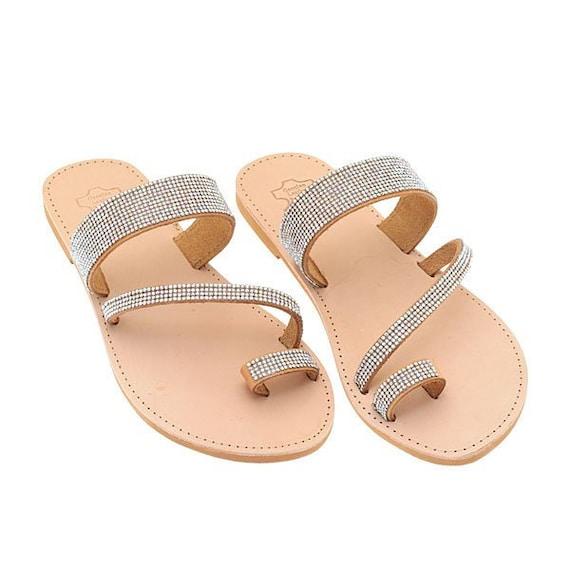Women Sandals Brown Leather Sandals Roman Sandals Greek Sandals Christmas Gift Leather Flats Strap Sandals-YB28 Elegant Wedding Shoes