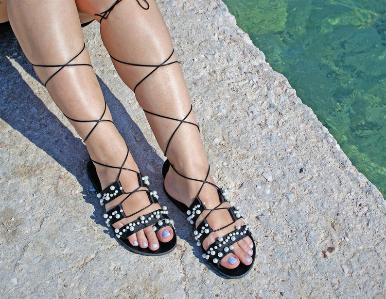 90e35810a Greek Black Gladiator Sandals Leather Gladiator sandals