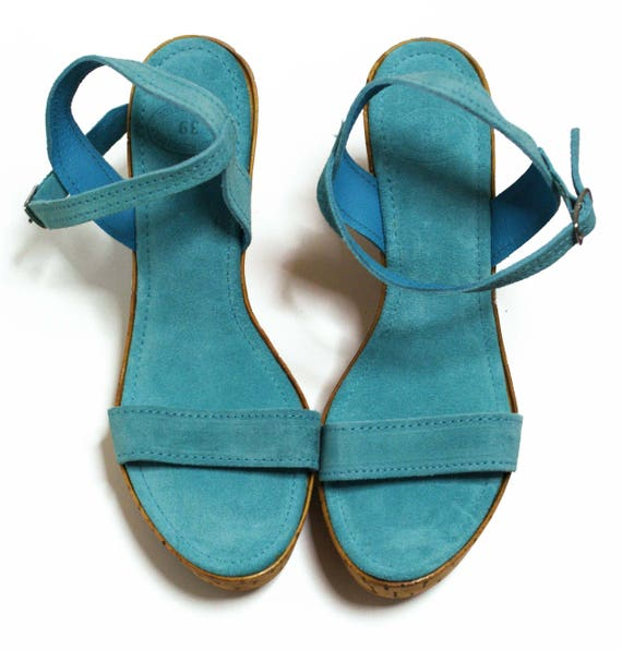 Ankle Strap Wedges Bridesmaid Shoes Greece Sandals Handpainted Shoes Turquoise Suede Shoes Prom Shoes Leather Wedges Suede Heels