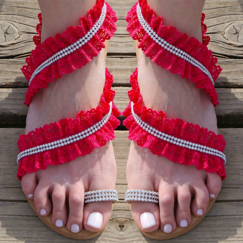 75f204562d5 Greek Sandals Fuschia Sandals Bridal flat Sandals
