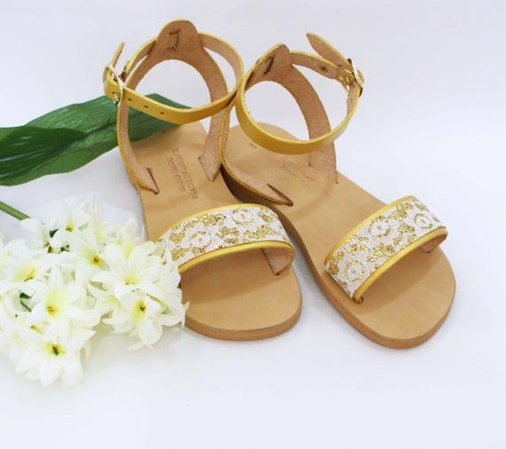 Greek Girls Sandals Flower Girl Flats