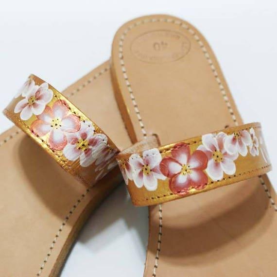 Goldene Sandalen Flache Hochzeit Sandale Ein Ring Sandalen Flachen Sandalen Handbemalte Schuhe Sommer Wohnungen Festival Schuhe Braut Flachen