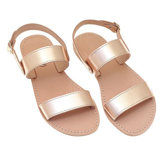Greek Leather Sandals, Wedding Shoes for Bride, Rose Gold Sandals, Bachelorette Sandals, Flat Sandals, Wedding Sandals, Bridesmaid Sandals