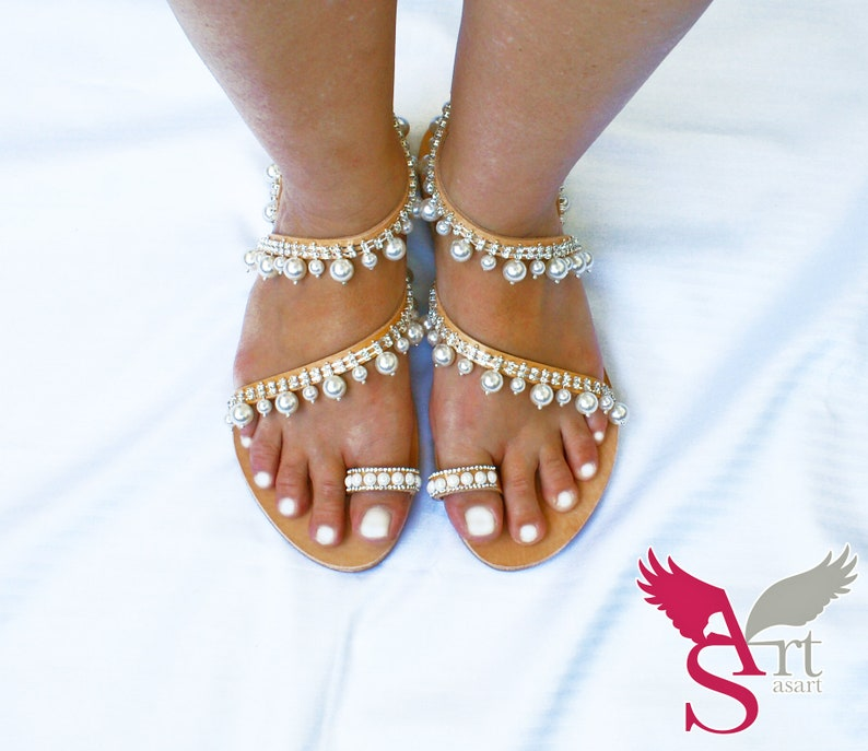 Wedding Sandals For Bride.Greek Sandals Sandals For Bride Wedding Sandals White Pearl Sandals Bridal Flat Sandals Rhinestone Sandals White Snake Sandals
