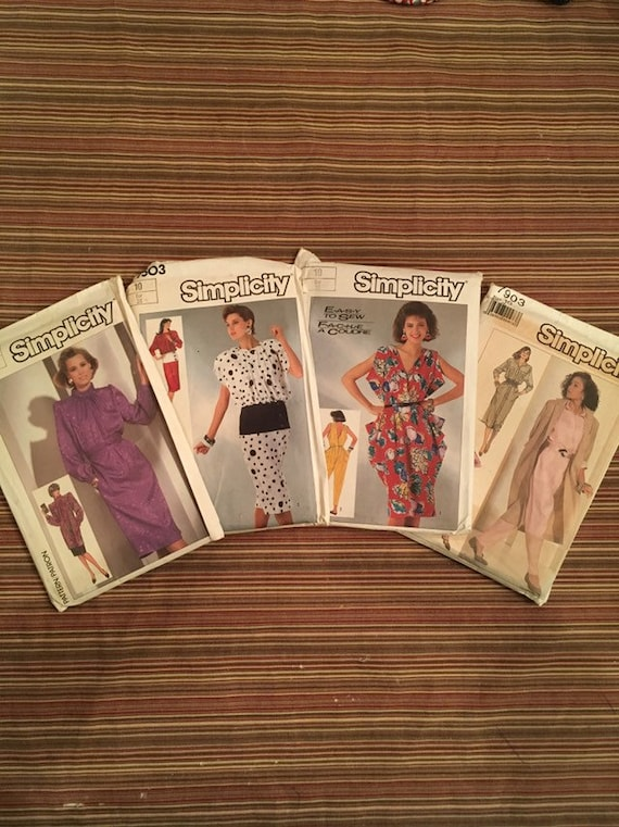 Lot of 4 Vintage 1980s Womens Dress Patterns by Si