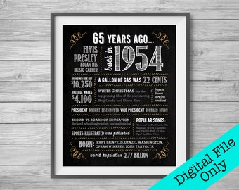 65th Birthday Anniversary Chalk Sign 8x10 And 16x20 1954 Digital File ONLY