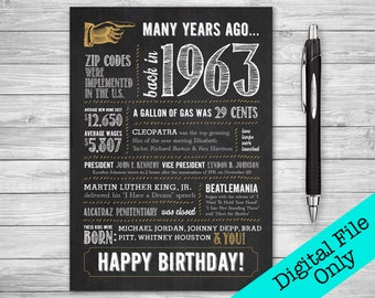 5x7 56th Birthday Greeting Card 1963 Digital File ONLY
