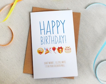 Funny Emoji Birthday Greeting Card For Anyone 5x7 Folded Blank Inside