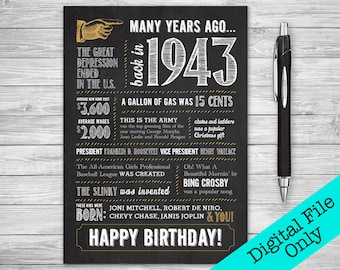 5x7 - 75th Birthday, Printable Folding Greeting Card, Many Years Ago Back in 1943, Instant Digital Download, DIY Print at Home, Chalk