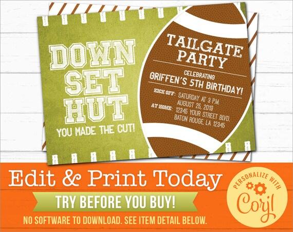 Football Tailgate Party Invitations Editable Digital File Etsy