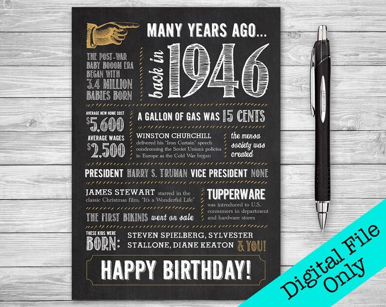 5x7 / 73rd Birthday Greeting Card / 1946 / Digital File ONLY