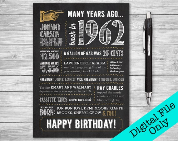 5x7 56th Birthday Printable Folding Greeting Card Many