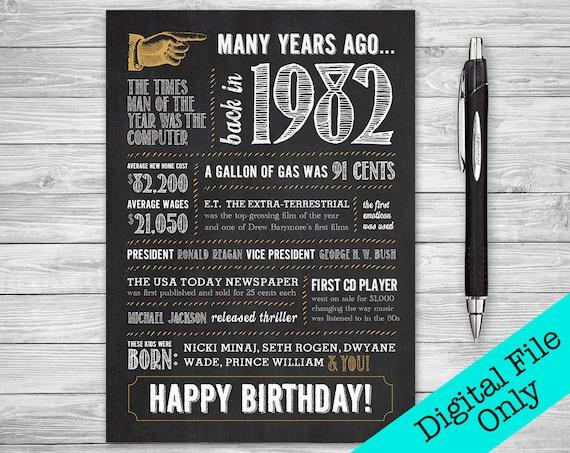 5x7 37th Birthday Greeting Card 1982 Digital File ONLY