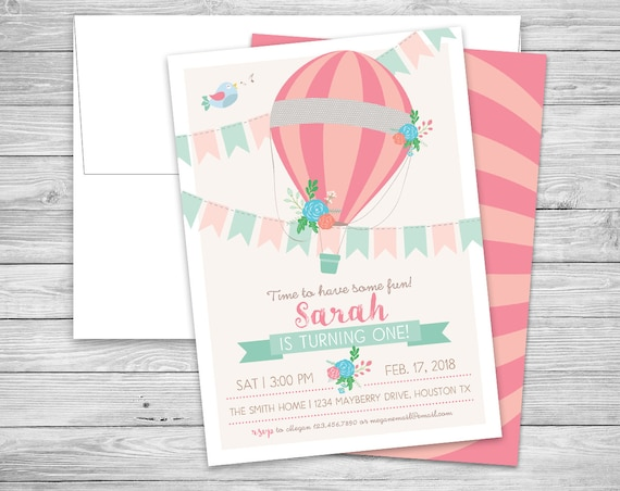 Hot air balloon first birthday party invitations envelopes etsy image 0 filmwisefo