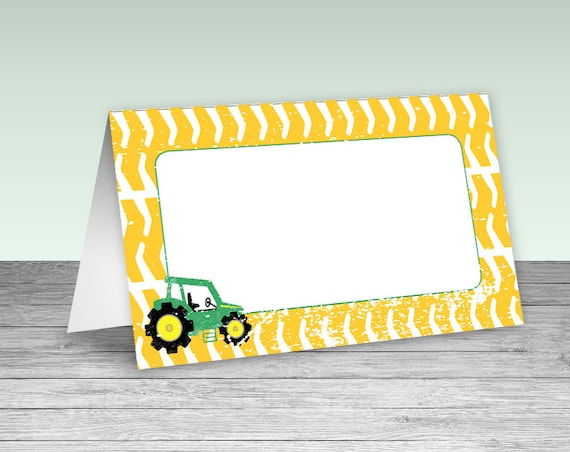 foldable table tent labels place cards signs green tractor etsy