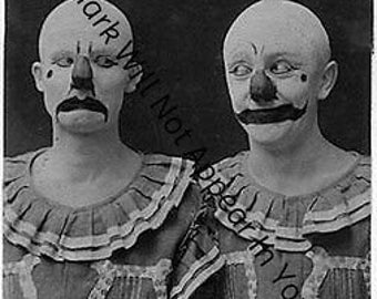 Lot of 2 Wierd Creepy Freaky Vintage Antique Early Photos Mirror Images Wacky