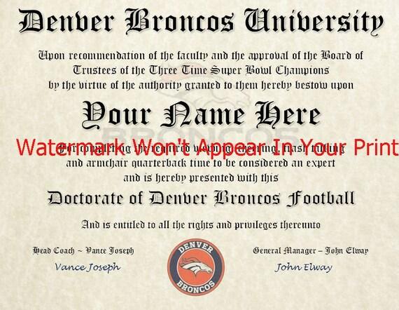 DENVER BRONCOS FAN   CERTIFICATE   DIPLOMA  GIFT   MAN CAVE  Broncos Fan~ FAN