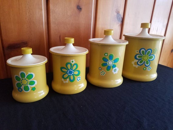 Kromex retro kitchen canister set of four yellow MOD flowers theme