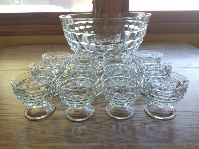 Punch Bowl Set Indiana Glass Whitehall cubist collection clear image 0