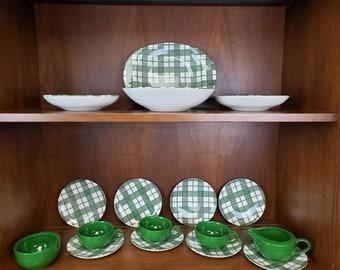 Green Plaid dish set of 17 Royal China hand etched plaid dishware