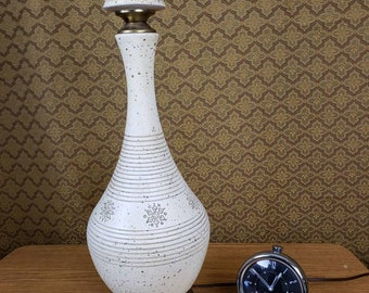 Lamp mid century white snowflake design with gold speckles medium table lamp