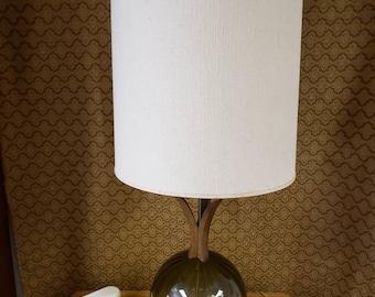 Green glass globe lamp Danish style mid century modern vintage lighting