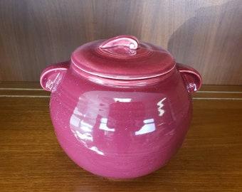 Cameron clay Cookie Jar Americana ring maroon glaze