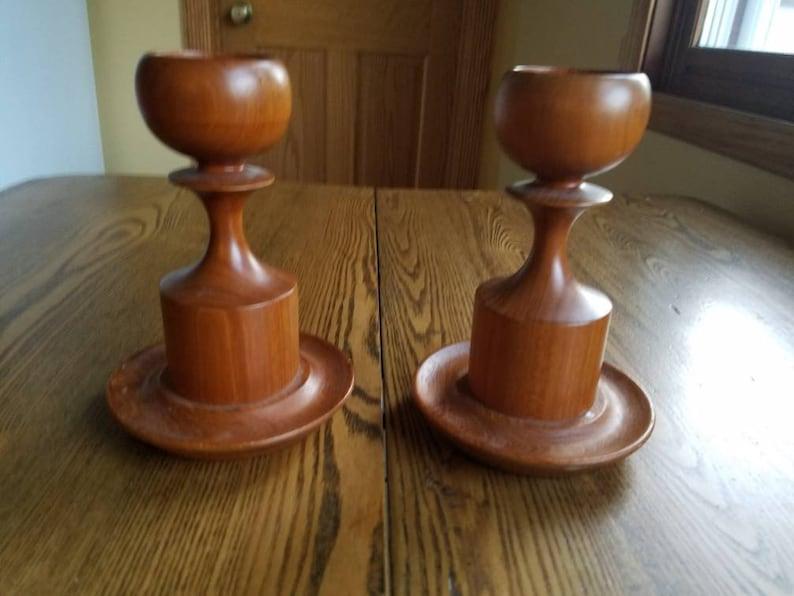 Candlestick holder set of 2 in wood Danish mid century modern image 0