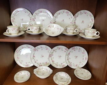 Taylor Smith Taylor pink rose dishware 1863 pattern 28 piece service for 4
