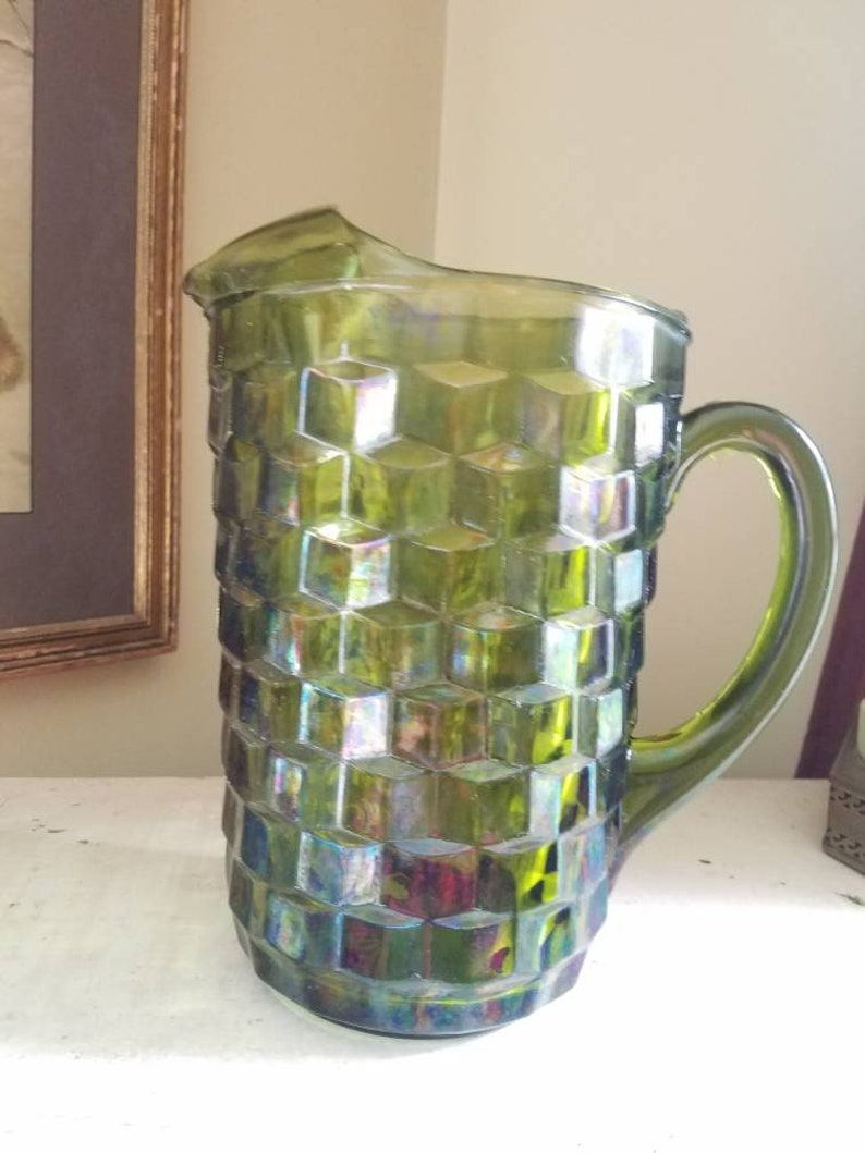 Indiana Glass Whitehall avacado green glass pitcher or order image 0