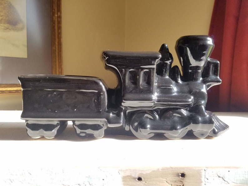 Vintage pottery planter train shaped glossy black planter image 0