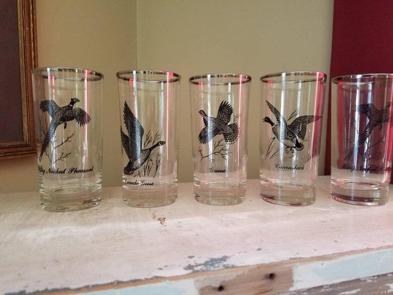 Federal Glass co set of 5 sportsmen bird sliver rimmed image 0