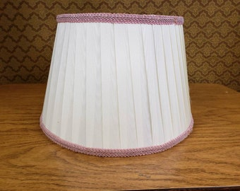 Lampshade vintage pleated creamy white with pink trim medium size